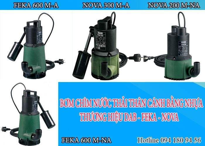 Máy bơm chìm nước thải nhựa kỹ thuật NOVA - FEKA không ăn mòn cho công trình vừa và nhỏ