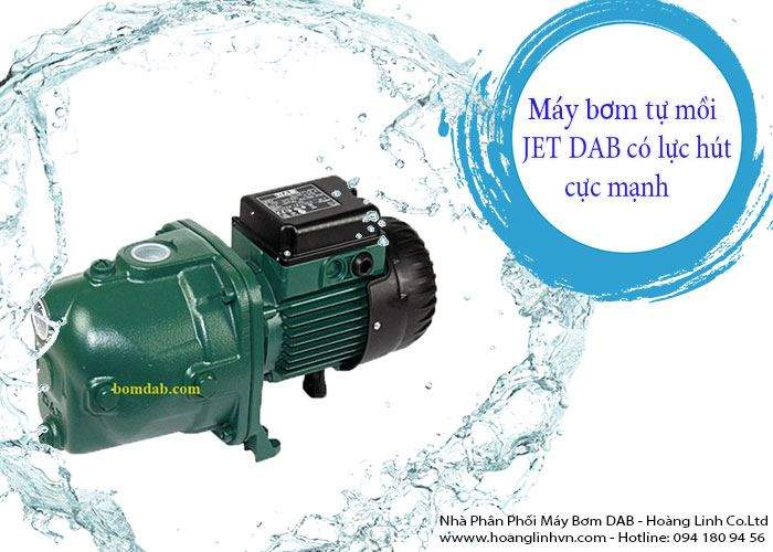 Sản phẩm máy bơm nước tự mồi Jet DAB Grundfos được sử dụng rất nhiều trong nước cấp, trong dân dụng, nông nghiệp. Ngoài ra, với lực hút mạnh của máy bơm Jet, máy bơm tự mồi Jet còn được sử dụng trong việc hút và rửa màng lọc sinh học MBR trong các công trình xử lý nước thải.